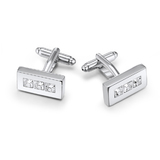 Triple III Cufflinks Embellished with Crystals from Swarovski
