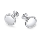 Circular Pave Cufflinks Embellished with Crystals from Swarovski