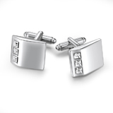 Triple Cufflinks Embellished with Crystals from Swarovski