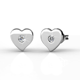 Heart Stud Earrings  Embellished with Crystals from Swarovski