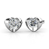 Heart Stud Earrings w/Swarovski  Crystals -White Gold/Clear