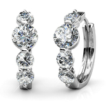 Classic Earrings w/Swarovski  Crystals -White Gold/Clear