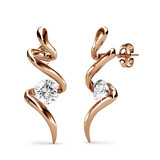 Bolt Earrings w/Swarovski  Crystals -Rose Gold/Clear