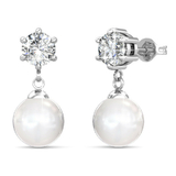 Drop Earrings w/Swarovski  Crystals -White Gold/Clear/Pearl