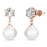 Drop Earrings w/Swarovski  Crystals -Rose Gold/Clear/Pearl