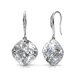Drop Earrings w/Swarovski  Crystals -White Gold/Clear
