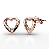 Heart Earrings w/Swarovski  Crystals -Rose Gold/Clear