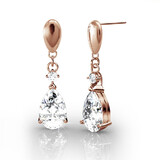 Drop Earrings w/Swarovski  Crystals -Rose Gold/Clear
