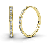 Pave Hoop Earrings w/Swarovski  Crystals - Gold/Clear