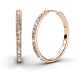 Pave Hoop Earrings w/Swarovski  Crystals -Rose Gold/Clear
