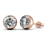 Stud Earrings w/Swarovski  Crystals -Rose Gold/Clear