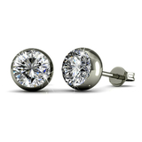 Stud Earrings w/Swarovski  Crystals -White Gold/Clear