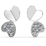 United Hearts Earrings Embellished with Crystals from Swarovski