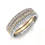 Tri Tone Triple Stack Ring Set Embellished with Crystals from Swarovski