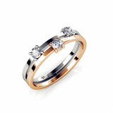 Two Tone Tri Setting Ring Embellished with Crystals from Swarovski