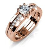 Royal Ring w/Swarovski  Crystals -Rose Gold/Clear