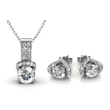 Matching Pendant and Earrings Set Embellished with Crystals from Swarovski