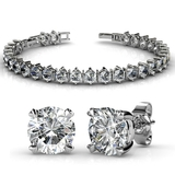 2pc Bracelet & Studs Set Embellished with Crystals from Swarovski