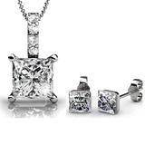 2pc Set Embellished with Crystals from Swarovski - White Gold