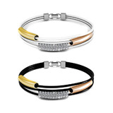 2pc Tri-Bracelet Set Ft Swarovski Crystals