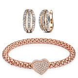 2pc Earring & Bracelet Set Ft Swarovski Crystals -RG