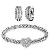 2pc Earring & Bracelet Set Ft Swarovski Crystals -WG