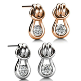 Earring Set w/Swarovski¨ Crystals - 2 Pairs - Rose Gold / White Gold / Clear