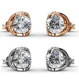 Earring Set w/Swarovski¨ Crystals - 2 Pairs - Rose Gold / Clear