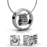 2pc Set w/Swarovski¨ Crystals - White Gold / Clear