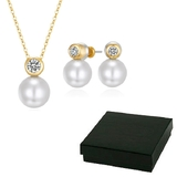 Boxed Matching Pearl Set Embellished with Crystals from Swarovski