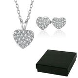 Boxed Heart 3pc Set Inc Earrings, Pendant and chain Embellished with Crystals from Swarovski