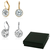 Boxed 2pc Set Drop Earrings Embellished with Crystals from Swarovski