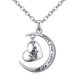 I love you to the moon and back pendant necklace -WG