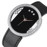 Genuine Cow Leather Watch Ft Swarovski Crystals -BLK