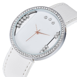 Genuine Cow Leather Watch Ft Swarovski Crystals -WHT