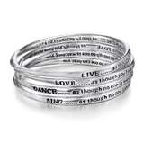 4pc Silver Inspiration Bangle Set