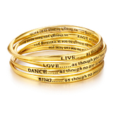 4pc Gold Inspiration Bangle Set