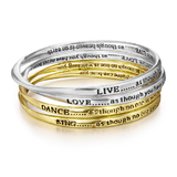 4pc Silver and Gold Inspiration Bangle Set