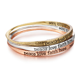 3pc Silver, Gold and Copper Inspiration Bangle Set