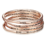 4pc Rose Gold Inspiration Bangle Set