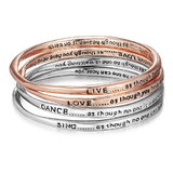 4pc Rose Gold and Silver Inspiration Bangle Set