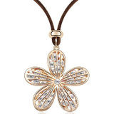 Spring Long Pendant Necklace Embellished with Crystals from Swarovski