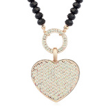 Heart Long Pendant Necklace Embellished with Crystals from Swarovski