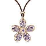 Floral Long Pendant Necklace Embellished with Crystals from Swarovski