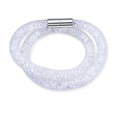Mesh Double Wrap Bracelet Embellished with Crystals from Swarovski-Wht