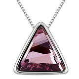 Triangle Pendant Necklace Embellished with Crystals from Swarovski -PNK