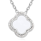 Clover Pendant Necklace Embellished with Crystals from Swarovski -WHT