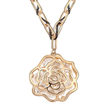 Rosey Long Pendant Necklace Embellished with Crystals from Swarovski - Gold