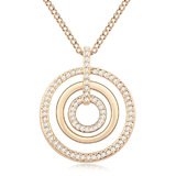 Tri-Ring Long Pendant Necklace Ft Swarovski Crystals - Clear