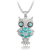 Wise Owl Long Pendant Necklace Embellished with Crystals from Swarovski